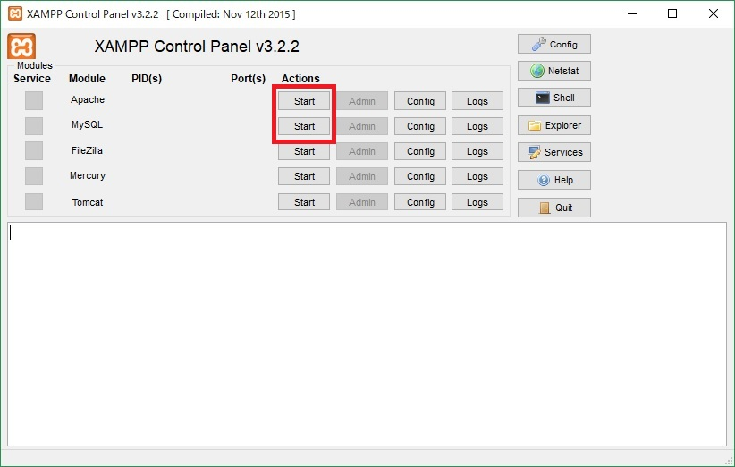 XAMPP Contorol Panel